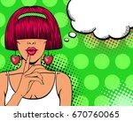 wow pop art face. sexy woman...   Shutterstock .eps vector #670760065