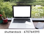 mock up computer and credit... | Shutterstock . vector #670764595