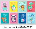 animals card set  hand drawn... | Shutterstock .eps vector #670765759