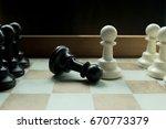 shot of a chess board white...   Shutterstock . vector #670773379