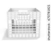 3d empty plastic milk crate on... | Shutterstock . vector #670781821