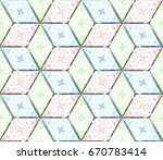 colorful seamless rhombus... | Shutterstock . vector #670783414