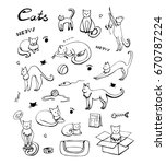 Stock vector cute cats icons set hand drawn doodles set with cats and care products vector eps 670787224