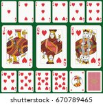 Playing cards, heart suit, joker and back. Faces double sized. Green background in a separate layer - stock vector