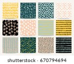 set of abstract seamless... | Shutterstock .eps vector #670794694