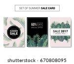 vector summer sale cards. sale... | Shutterstock .eps vector #670808095