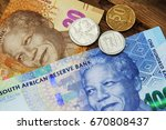 south african money on a wooden ... | Shutterstock . vector #670808437