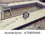 team of construction engineers... | Shutterstock . vector #670809469