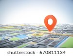 3d map of city with navigator... | Shutterstock . vector #670811134