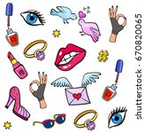 background with fashion patch... | Shutterstock .eps vector #670820065