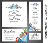 set of flower wedding ornament... | Shutterstock .eps vector #670825819