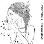 beautiful girl with butterfly | Shutterstock .eps vector #670828069