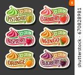 vector set of fruit ice cream... | Shutterstock .eps vector #670828981