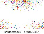 olorful round confetti frame... | Shutterstock . vector #670830514