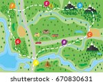 suburban map with houses with... | Shutterstock .eps vector #670830631