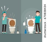 clean toilet versus dirty toilet | Shutterstock .eps vector #670838434