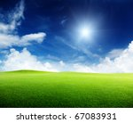 green field and sunny day   Shutterstock . vector #67083931