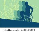 wheelchair disabled man... | Shutterstock .eps vector #670840891