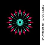 ornament on a black background. ... | Shutterstock . vector #670843369