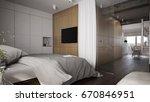 interior of a modern bedroom...   Shutterstock . vector #670846951