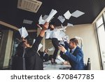 excited businesswoman throwing... | Shutterstock . vector #670847785