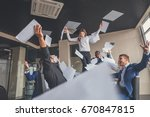 business team celebrating a... | Shutterstock . vector #670847815