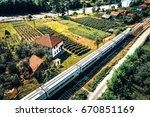 aerial view of modern talgo... | Shutterstock . vector #670851169
