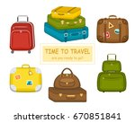 set of various  travel bags... | Shutterstock .eps vector #670851841