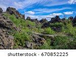 dimmuborgir   a rock town near... | Shutterstock . vector #670852225