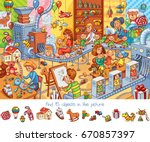 toy factory. find 15 objects in ... | Shutterstock .eps vector #670857397