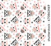 cute pink and grey cartoon owls ... | Shutterstock .eps vector #670863469
