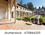 Small photo of Patio of the irrigation canal, Patio de la Acequia, in Alhambra palace, Granada, Andalusia, Spain