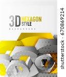 vector 3d effect hexagon... | Shutterstock .eps vector #670869214