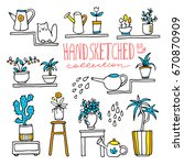 hand drawn collection of indoor ... | Shutterstock .eps vector #670870909