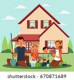happy family gardening. parents ... | Shutterstock .eps vector #670871689
