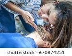 girl checking vital parameters... | Shutterstock . vector #670874251