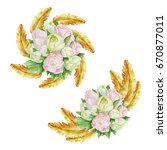 watercolor floral elements for... | Shutterstock . vector #670877011