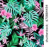 vector seamless vivid tropical... | Shutterstock .eps vector #670884454