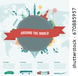 travel composition with famous...   Shutterstock .eps vector #670885957