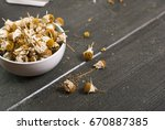 dried chamomile flowers  herbal ... | Shutterstock . vector #670887385