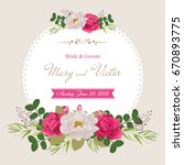 Stock vector wedding invitation cards with flower beautiful white peony and red roses use for boarding pass 670893775