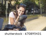 young modern woman on... | Shutterstock . vector #670895431