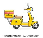 scooter delivery isolated. | Shutterstock .eps vector #670906909