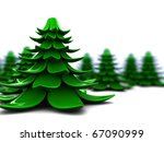 abstract 3d illustration of stylized christmas trees over white background - stock photo