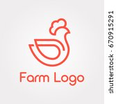 line art chicken icon. poultry...   Shutterstock .eps vector #670915291