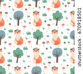 seamless pattern with cute fox... | Shutterstock .eps vector #670918501