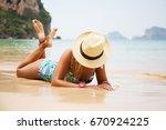 summer lifestyle portrait of...   Shutterstock . vector #670924225