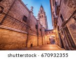 toledo  spain  the old town and ... | Shutterstock . vector #670932355