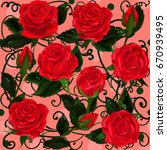 mothers day. rose flowers.... | Shutterstock .eps vector #670939495