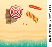 beach top view   flip flops ... | Shutterstock .eps vector #670942651